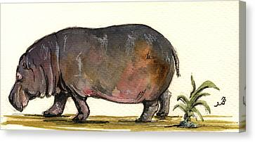Hippopotamus Canvas Print - Hippo by Juan  Bosco