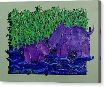 Hippo Nursery Canvas Print