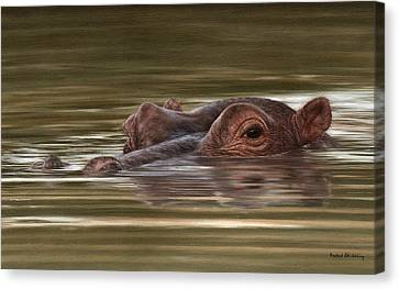 Hippopotamus Canvas Print - Hippo Painting by Rachel Stribbling