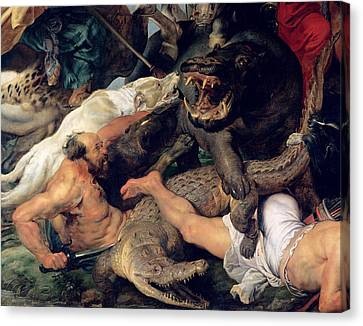 Hippopotamus And Crocodile Hunt, C.1615-16 Oil On Canvas Detail See Also 156517 Canvas Print