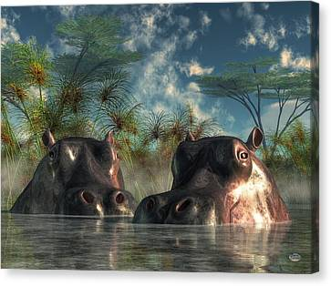 Hippos Are Coming To Get You Canvas Print by Daniel Eskridge