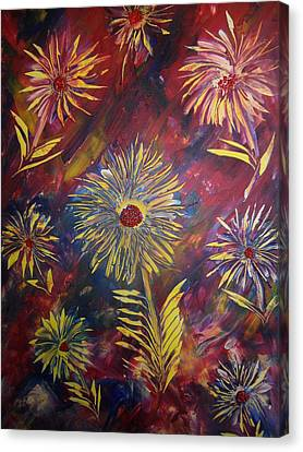 Canvas Print featuring the painting Hippy Flowers by Nico Bielow