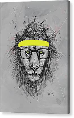Hipster Lion Canvas Print by Balazs Solti