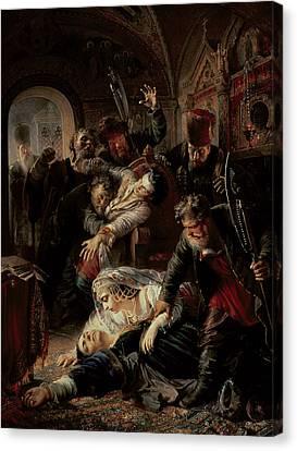Hired Assassins Killing Tzar Boris Fyodorevich Godunov's Son Canvas Print by Konstantin Egorovich Makovsky