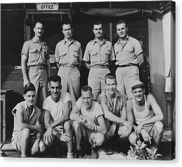 Hiroshima Atomic Bomb Crew On Tinian Canvas Print by Everett