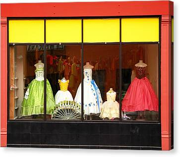 Gown Canvas Print - Hispanic Dress Shop by Jim Hughes