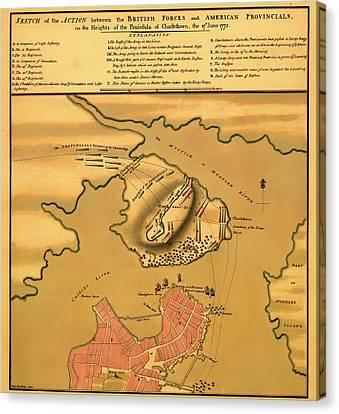 Historic Bunker Hill Battleground Map 1775 Canvas Print