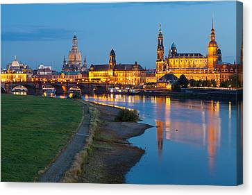 Historic Center Of Dresden At Dusk Canvas Print by Panoramic Images