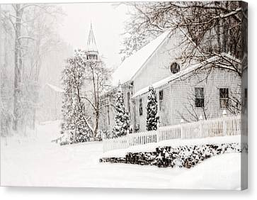 Canvas Print featuring the photograph Historic Church In Oella Maryland During A Blizzard by Vizual Studio