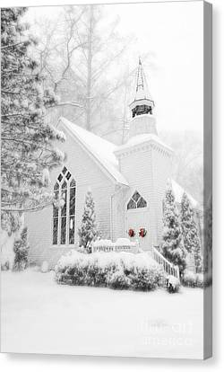 White Christmas In Oella Maryland Usa Canvas Print