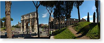 Historic Coliseum And Arch Canvas Print by Panoramic Images