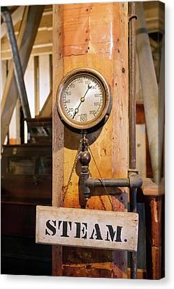 Historic Flour Mill Steam Gauge Canvas Print by Jim West
