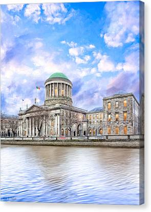 Historic Four Courts In Dublin Ireland Canvas Print by Mark E Tisdale