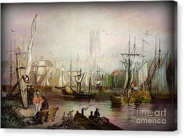 Historic Gloucester - Uk Circa 1840 Canvas Print