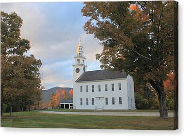Historic Jaffrey Meetinghouse And Mount Monadnock Early Autumn Canvas Print by John Burk