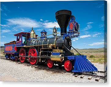 Historic Jupiter Steam Locomotive - Promontory Point Canvas Print by Gary Whitton