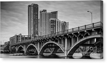 Historic Lamar Boulevard Bridge In Black And White - Austin Texas Hill Country Canvas Print