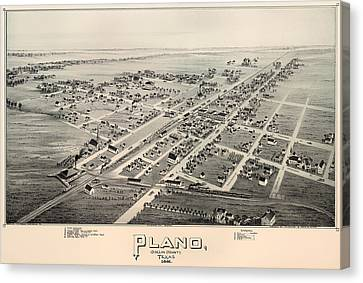 Historic Map Of Plano Texas 1891 Canvas Print by Mountain Dreams