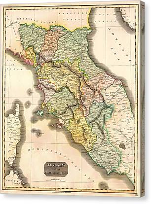 Historic Map Of Tuscany 1814 Canvas Print by Mountain Dreams