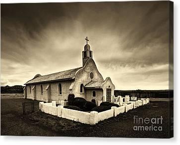 Historic Old Adobe Spanish Style Catholic Church San Ysidro New Mexico Canvas Print by Jerry Cowart