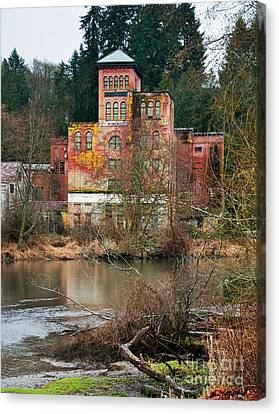 Historic Old Brewery By Creek Canvas Print by Valerie Garner
