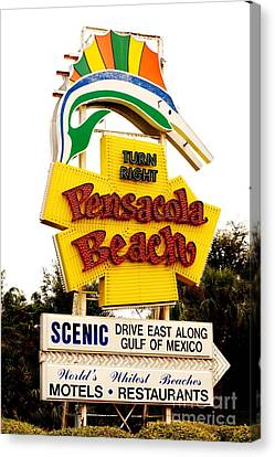 Historic Pensacola Beach Sign Canvas Print by Janice Spivey