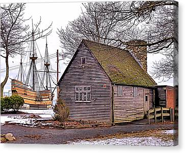 Canvas Print featuring the photograph Historic Plymouth Ma Harbor by Janice Drew