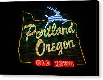 Historic Portland Oregon Old Town Sign Canvas Print