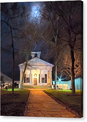 Historic Roswell Presbyterian Church By Night Canvas Print by Mark E Tisdale