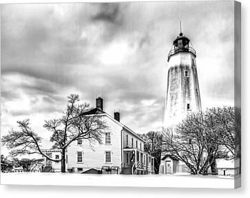 Historic Sandy Hook Lighthouse In Black And White Canvas Print