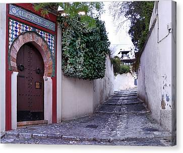 Historic Street At Albaycin In Granada' Canvas Print by Guido Montanes Castillo