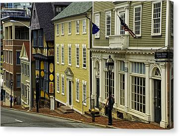 Canvas Print featuring the photograph Historic Street In Providence Ri by Nancy De Flon