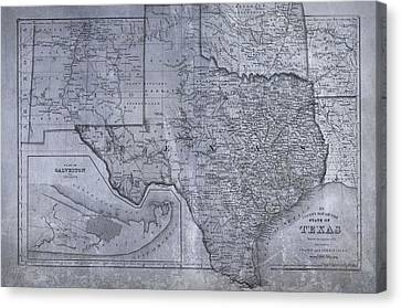 Old Map Canvas Print - Historic Texas Map by Dan Sproul