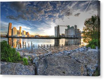 Pillsbury Canvas Print - Historic View Of The Grain Elevators And General Mills by Michael Frank Jr