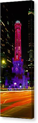 Historic Water Tower Lit Up At Night Canvas Print by Panoramic Images