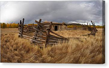 Old Cabins Canvas Print - Historical Cabin Montana by Leland D Howard
