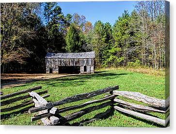 Smokey Mountain Drive Canvas Print - Historical Cantilever Barn At Cades Cove Tennessee by Kathy Clark