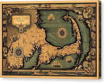 Historical Map Of Cape Cod Canvas Print by Andrew Fare