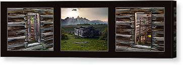 Old Cabins Canvas Print - Historical Taylor Cabin Triptych by Leland D Howard
