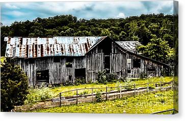 History Left Behind  Old Barn Canvas Print by Peggy Franz