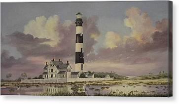 History Of Morris Lighthouse Canvas Print by Wanda Dansereau