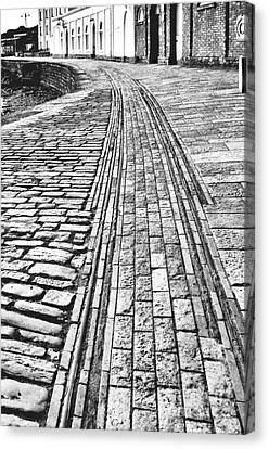 History. Swanage Pier Tramway. Black And White Canvas Print by Linsey Williams