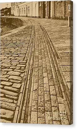 History. Swanage Pier Tramway In Sepia Canvas Print by Linsey Williams