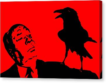Hitchcock In Red Canvas Print by Jera Sky