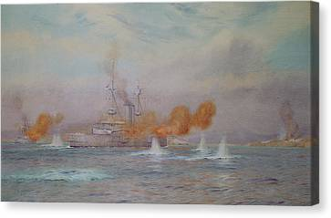 H.m.s. Albion Commanded By Capt. A. Walker-heneage Completing The Destruction Of The Outer Forts Canvas Print by Alma Claude Burlton Cull