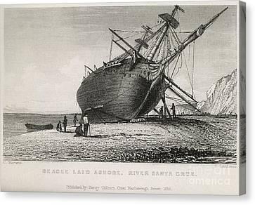 Hms Beagle Laid Ashore, River Santa Canvas Print by British Library