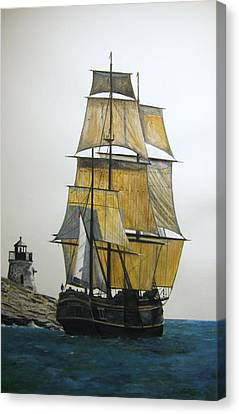 Canvas Print featuring the painting Hms Bounty by Stan Tenney
