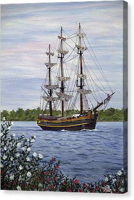 Hms Bounty Canvas Print by Vicky Path