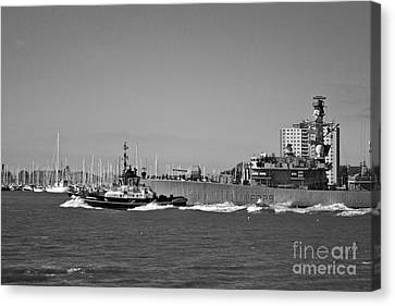 Hms Lancaster Leaving Portsmouth Harbour Canvas Print by Terri Waters
