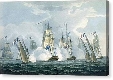 Hms Sirius, Captain Rowse Engaging Canvas Print by Thomas Whitcombe